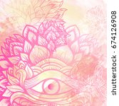 beautiful watercolor background ... | Shutterstock .eps vector #674126908