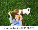 laughing girl enjoy playing...   Shutterstock . vector #674128678