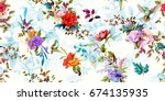 Stock vector wide vintage seamless background pattern rose poppy wild flowers with nightingales and leaf 674135935