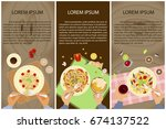 set of persons are eating  top... | Shutterstock .eps vector #674137522