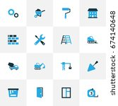 industry colorful icons set.... | Shutterstock .eps vector #674140648