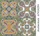 4 art nouveau wallpapers | Shutterstock .eps vector #67414294