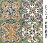 4 art nouveau wallpapers | Shutterstock .eps vector #67414294