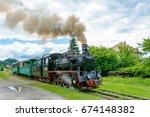 mocanita  the touristic train...   Shutterstock . vector #674148382