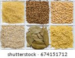 grocery set of food products ...   Shutterstock . vector #674151712