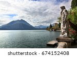 view of mountains and statue... | Shutterstock . vector #674152408