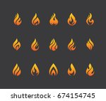 set of flame icons. hot fire... | Shutterstock .eps vector #674154745