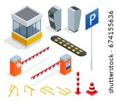 isometric parking isometric... | Shutterstock .eps vector #674155636