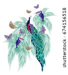 colored abstract birds ... | Shutterstock .eps vector #674156518