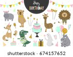set of vector birthday party... | Shutterstock .eps vector #674157652