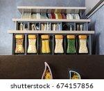 modern kitchen countertop with... | Shutterstock . vector #674157856