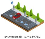 isometric cars in the parking... | Shutterstock . vector #674159782