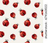Seamless Pattern With Ladybugs...
