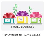 small business   vector stores... | Shutterstock .eps vector #674163166