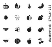 set of 16 editable fruits icons....