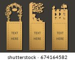 laser cut with garden set of... | Shutterstock .eps vector #674164582