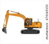 powerful excavator crawler....   Shutterstock .eps vector #674165152