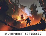 sci fi scene showing fight of... | Shutterstock . vector #674166682