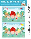 find differences game for kids  ... | Shutterstock .eps vector #674166892