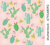 cute summery seamless patterns | Shutterstock .eps vector #674168092