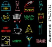 neon icon set vector... | Shutterstock .eps vector #674173762