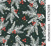 cute holiday seamless pattern. | Shutterstock .eps vector #674176288