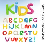 plastic font. children and... | Shutterstock .eps vector #674176636