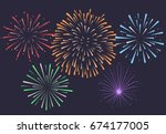 Firework On Night Background ...
