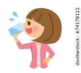 woman who drink the water. | Shutterstock .eps vector #674178112