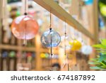 colorful japanese wind chimes   ... | Shutterstock . vector #674187892