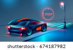 the car stopped at a red light... | Shutterstock .eps vector #674187982