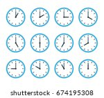 set of clock flat icon | Shutterstock .eps vector #674195308