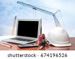 architectural office desk... | Shutterstock . vector #674196526