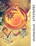 christmas mulled wine with... | Shutterstock . vector #674196982