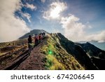 group of hiking on batur... | Shutterstock . vector #674206645