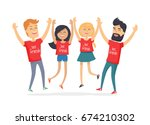 friends congratulating each... | Shutterstock .eps vector #674210302