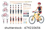 man on bicycle with spare body... | Shutterstock .eps vector #674210656