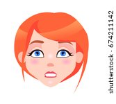 woman angry face with pink... | Shutterstock .eps vector #674211142