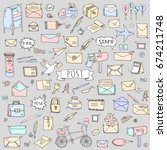 hand drawn doodle postal... | Shutterstock .eps vector #674211748