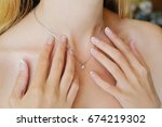the girl with delicate hands... | Shutterstock . vector #674219302