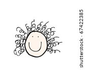 child's drawing of a happy... | Shutterstock .eps vector #67422385