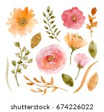 painted watercolor set of... | Shutterstock . vector #674226022