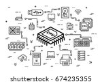cpu chip and computer... | Shutterstock .eps vector #674235355