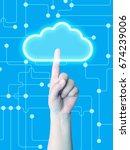 hand press cloud | Shutterstock . vector #674239006