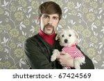 geek retro man holding dog... | Shutterstock . vector #67424569