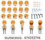 construction worker creation... | Shutterstock .eps vector #674252746
