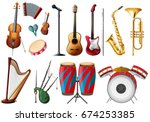 different types of musical... | Shutterstock .eps vector #674253385