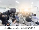 microphone over the blurred... | Shutterstock . vector #674256856