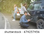 car accident resulting in an... | Shutterstock . vector #674257456