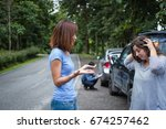 car accident resulting in an... | Shutterstock . vector #674257462